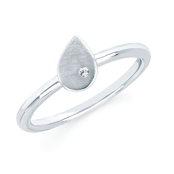 Sterling Silver Ring - Diva Diamonds® Pear Satin Ring in Sterling Silver with .01 Ct. Diamond
