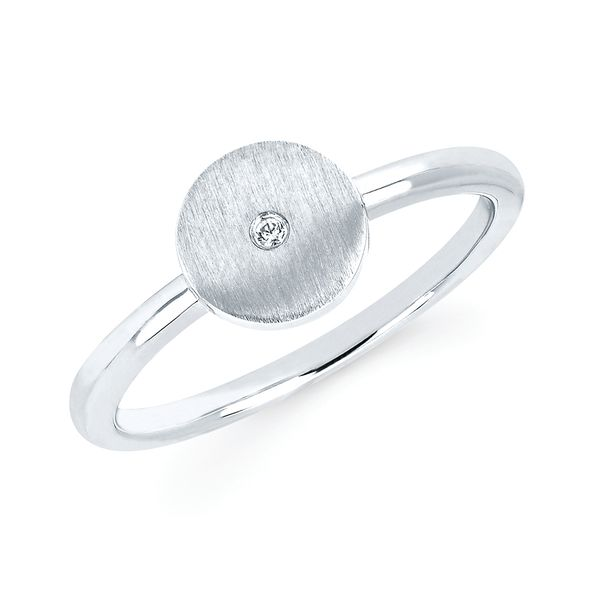 Sterling Silver Ring - Diva Diamonds® Round Satin Ring in Sterling Silver with .01 Ct. Diamond