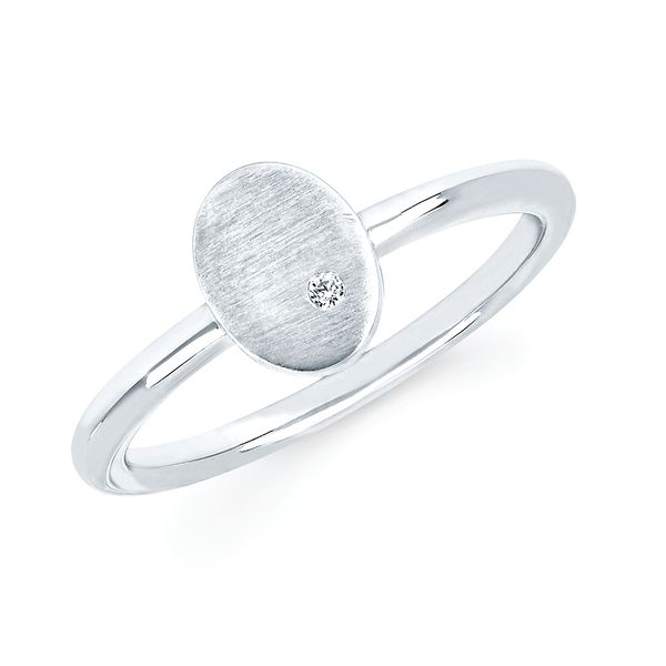 Sterling Silver Ring - Diva Diamonds® Oval Satin Ring in Sterling Silver with .01 Ct. Diamond