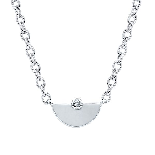 Sterling Silver Pendant - Diva Diamonds® Half Moon Pendant in Sterling Silver with .01 Ct. Diamond with 18