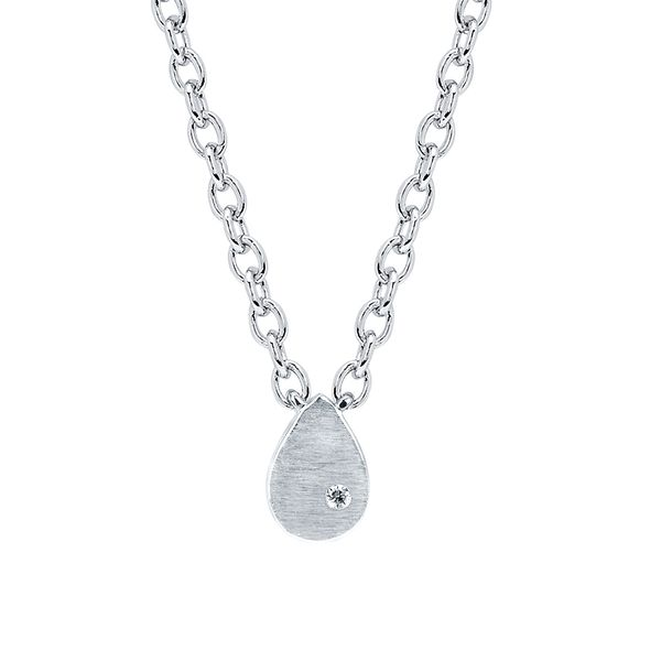 Sterling Silver Pendant - Diva Diamonds® Pear Satin Pendant in Sterling Silver with .01 Ct. Diamond with 18