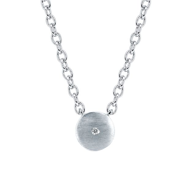 Sterling Silver Pendant - Diva Diamonds® Round Satin Pendant in Sterling Silver with .01 Ct. Diamond with 18