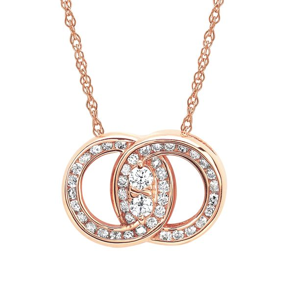 14k Rose Gold Pendant - Diamond Marriage Symbol® Pendant in 14K Gold with .25 Ctw. Diamonds