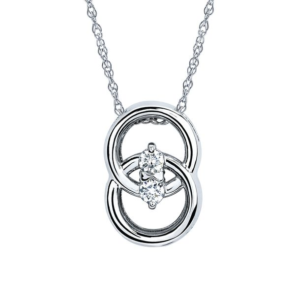 14k White Gold Pendant - Diamond Marriage Symbol® Pendant in 14K Gold with .12 Ctw. Diamonds