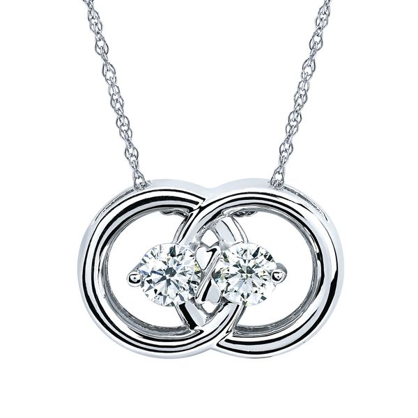 14k White Gold Pendant - Diamond Marriage Symbol® Pendant in 14K Gold with .50 Ctw. Diamonds