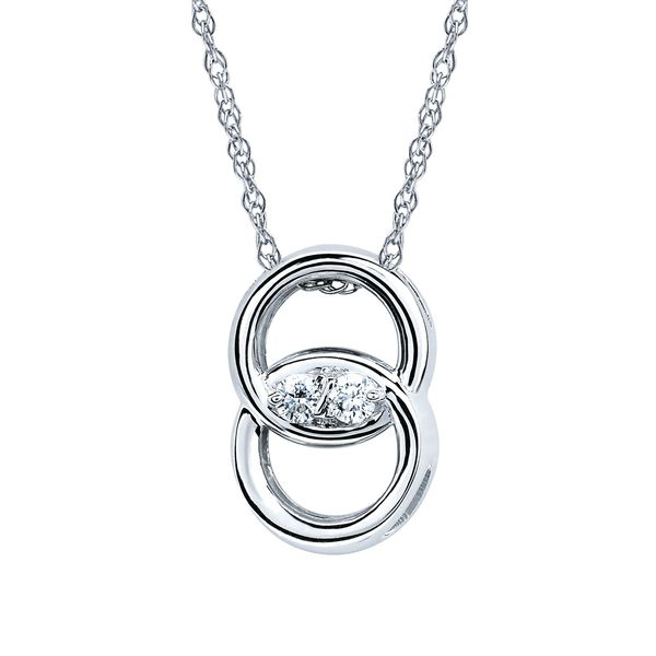 14k White Gold Pendant - Diamond Marriage Symbol® Pendant in 14K Gold with .05 Ctw. Diamonds