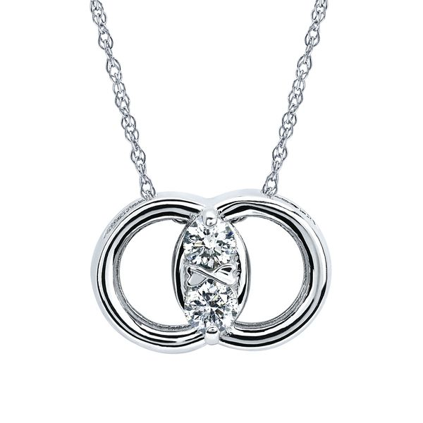 14k White Gold Pendant - Diamond Marriage Symbol® Pendant in 14K Gold with .25 Ctw. Diamonds