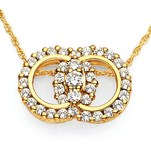 14k White Gold Pendant - Diamond Marriage Symbol® Pendant in 14K Gold with Prong Set Rings and 3 Diamonds equaling 1 Ctw.