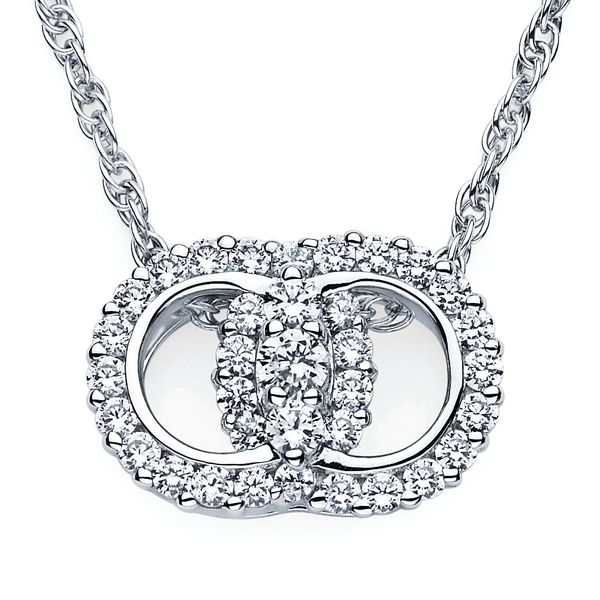 14k White Gold Pendant - Diamond Marriage Symbol® Pendant in 14K Gold with Prong Set Rings and 3 Diamonds equaling 2 Ctw.