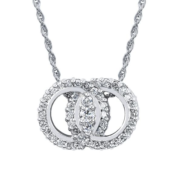 14k White Gold Pendant - Diamond Marriage Symbol® Pendant in 14K Gold with Prong Set Rings and 3 Diamonds equaling 1/2 Ctw.