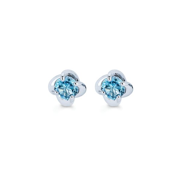 14K White Gold Earrings - Diamonds with a Twist Earrings with Blue Topaz (December)