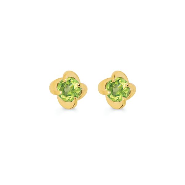 14K Yellow Gold Earrings - Diamonds with a Twist Earring with Peridot (August)