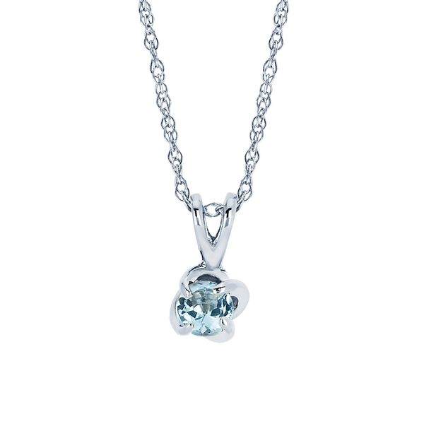 14k White Gold Pendant - Diamonds with a Twist Pendant with Aquamarine (March)