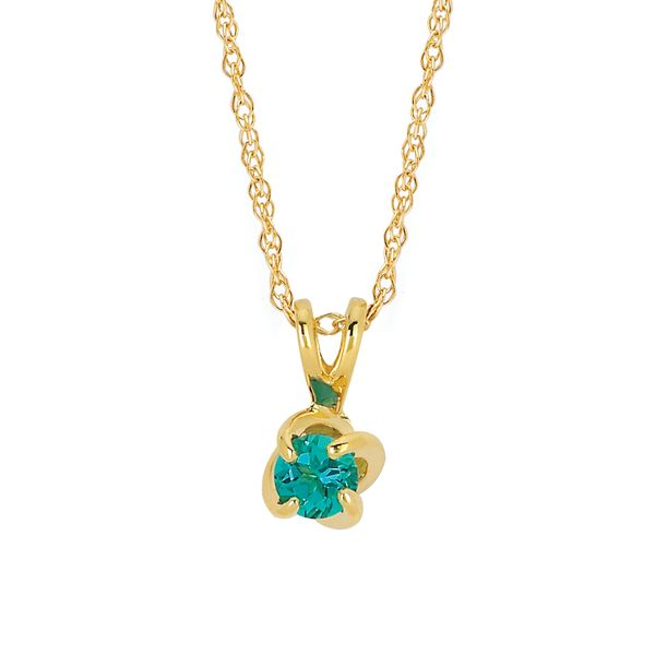 14k Yellow Gold Pendant - Diamonds with a Twist Pendant with Created Emerald (May)