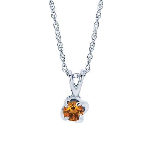 14K White Gold Pendant - Diamonds with a Twist Pendant with Citrine (November)
