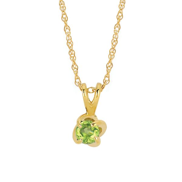 14K Yellow Gold Pendant - Diamonds with a Twist Pendant with Peridot (August)