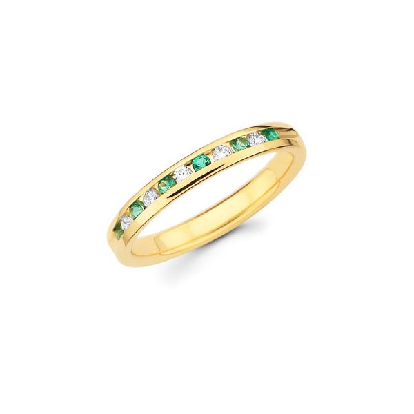 14k Yellow Gold Anniversary Band - Channel Set Emerald & Diamond Anniversary Band in 14K Gold (Includes 1/8 Ctw. Diamonds)