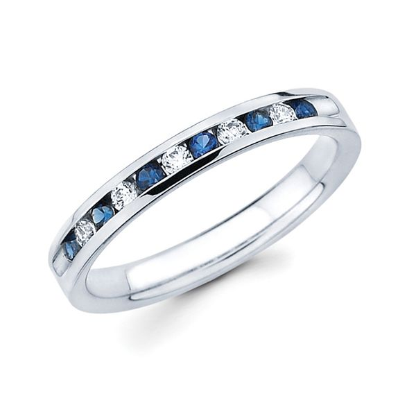 14k White Gold Anniversary Band - Channel Set Sapphire & Diamond Anniversary Band in 14K Gold (Includes 1/8 Ctw. Diamonds)