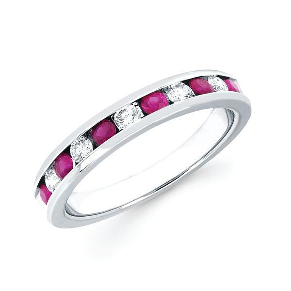 14k White Gold Anniversary Band - Channel Set Ruby & Diamond Anniversary Band in 14K Gold (Includes 1/4 Ctw. Diamonds)