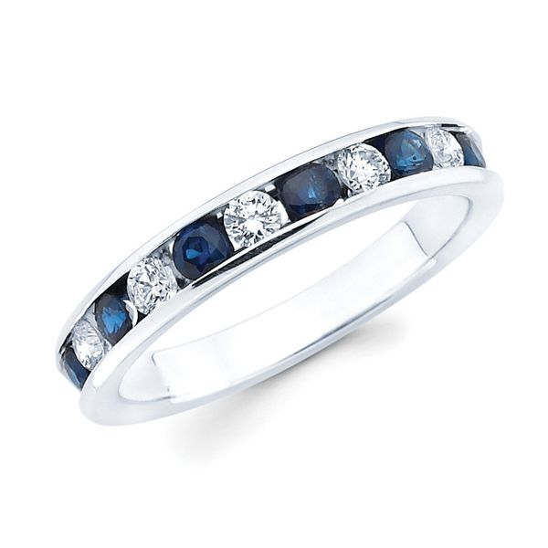 14k White Gold Anniversary Band - Channel Set Sapphire & Diamond Anniversary Band in 14K Gold (Includes 1/4 Ctw. Diamonds)