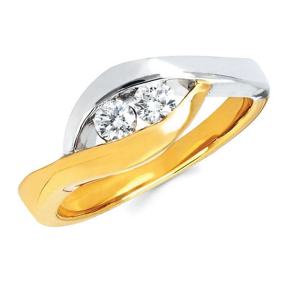 14K Yellow & White Gold Ring - 1/5 Ctw Diamond Two-Stone Fashion Ring In 14K Two Tone Gold