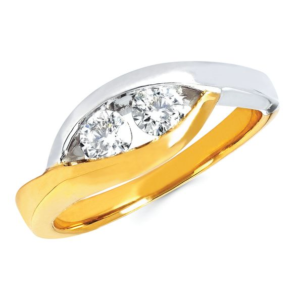 14K Yellow & White Gold Ring - 3/8 Ctw Diamond Two-Stone Fashion Ring In 14K Two Tone Gold