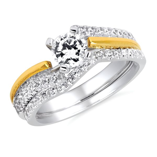 14k White And Yellow Gold Engagement Set by Forever Elegant