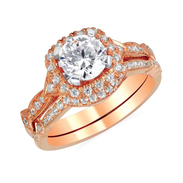 14k Rose Gold Engagement Set by Forever Elegant
