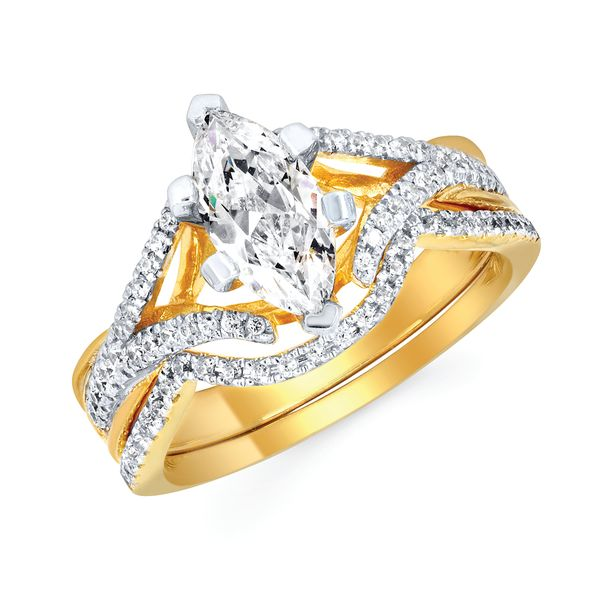 14k Yellow Gold Engagement Set by Forever Elegant