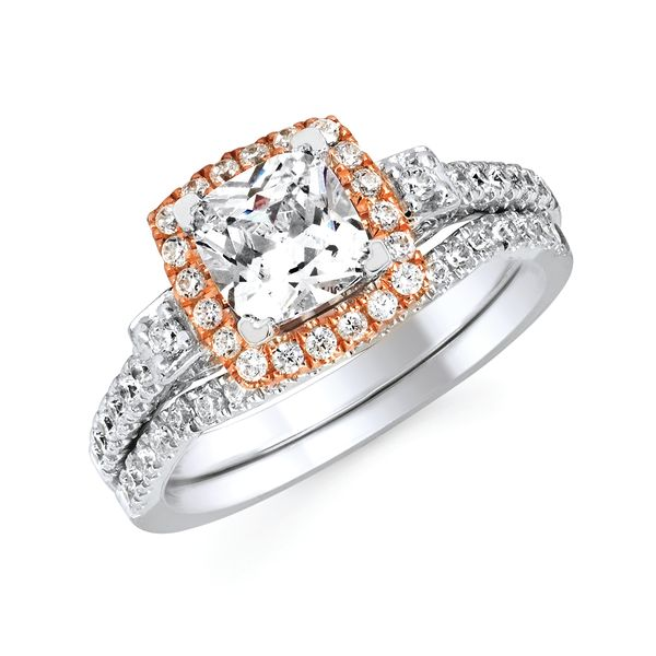 14k White And Rose Gold Engagement Set by Forever Elegant