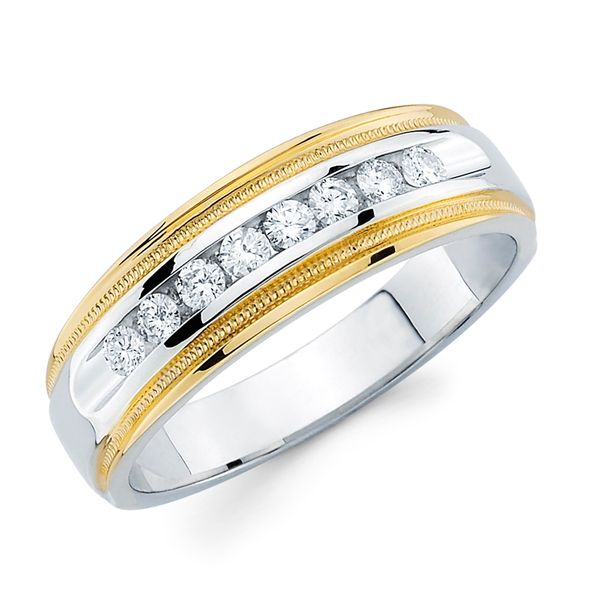 14K White & Yellow Gold Ring - 1/5 Ctw. Channel Set Men's Diamond Wed Band with Millgrain Detail in 14K Two Tone Gold