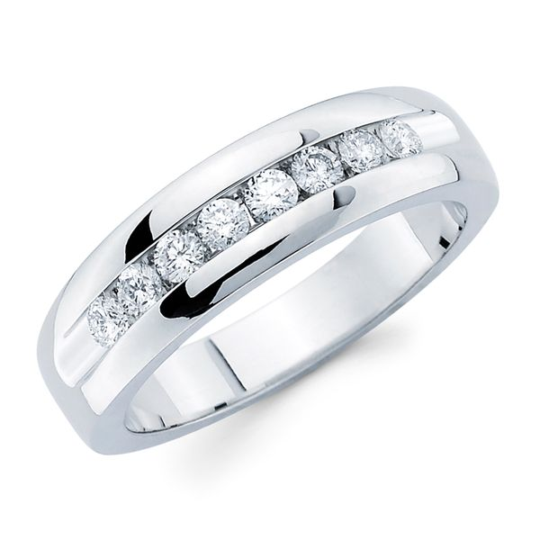 14K White Gold Ring - 1/5 Ctw. Channel Set 8 Stone Men's Diamond Wed Band in 14K Gold