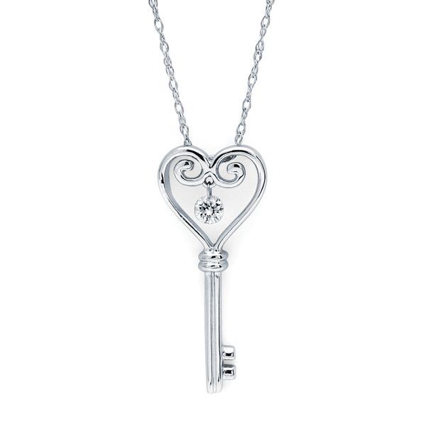 14k White Gold Pendant - Shimmering Diamonds® Heart Key Pendant in 14K Gold with .06 Diamonds