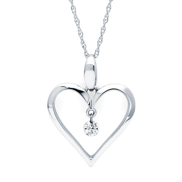 14k White Gold Pendant - Shimmering Diamonds® Heart Pendant in 14K Gold with .06 Diamonds