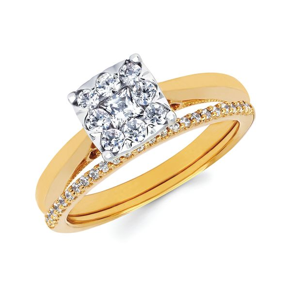 Engagement Rings - 14k Yellow Gold Engagement Set