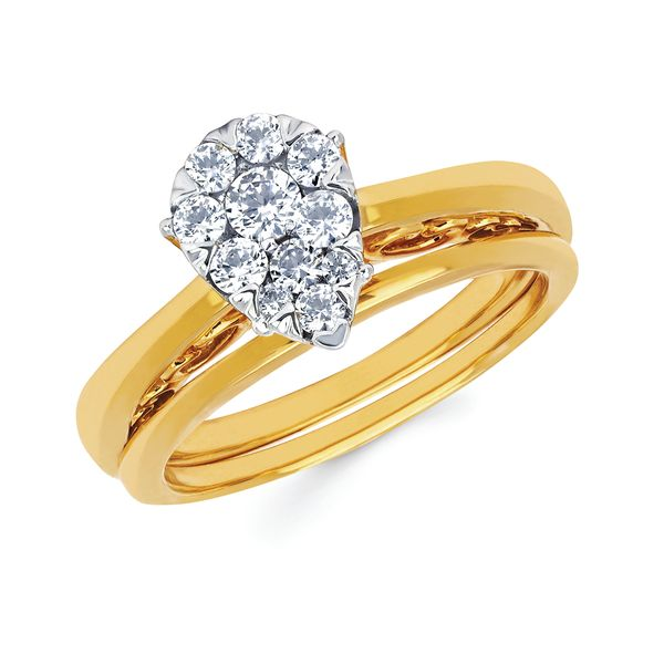 14k Yellow Gold Engagement Set - i Cherish™ .50ctw Pear Shaped Diamond Ring in 14K Gold i Cherish™ Wedding Band in 14K Gold Items also available to purchase separately