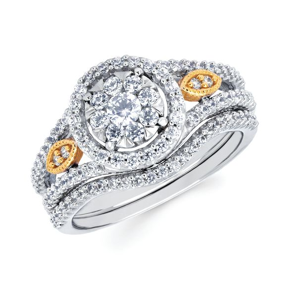 Sets - 14k White And Yellow Gold Engagement Set