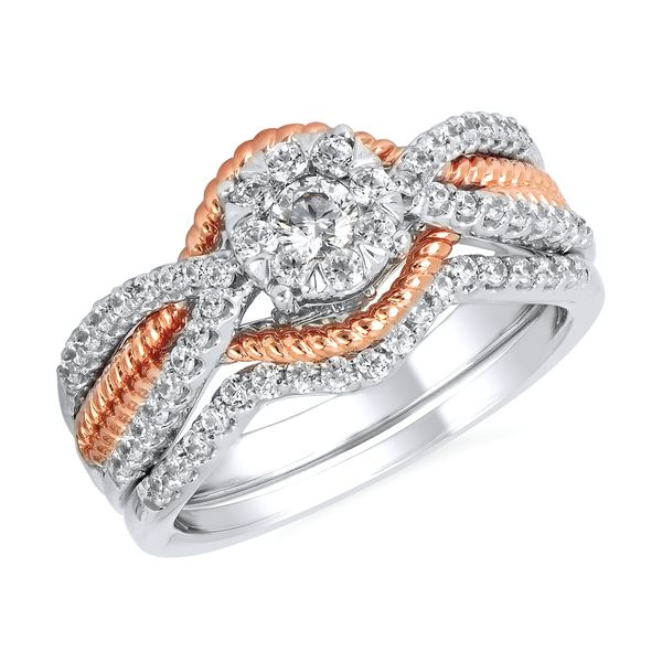 Engagement Rings - 14k White And Rose Gold Engagement Set