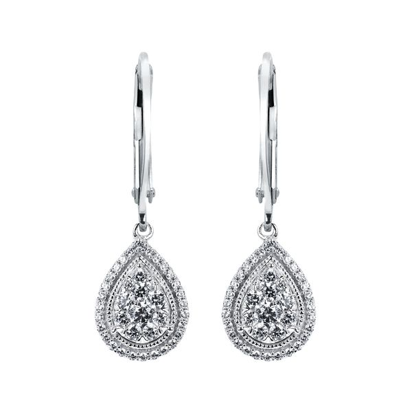 Diamond Earrings - 14k White Gold Diamond Earrings