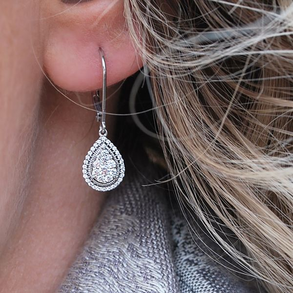 Earrings - 14k White Gold Diamond Earrings - image #2