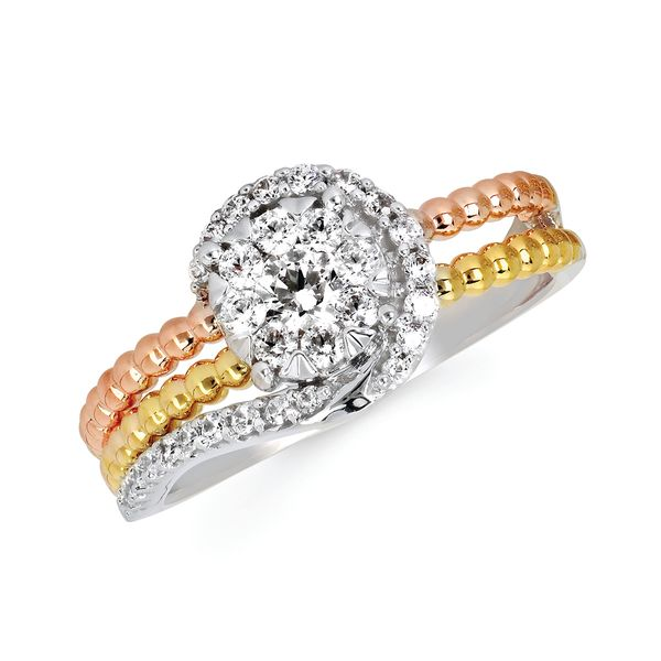 14k White, Yellow And Rose Gold Ring - i Cherish™ 1/2 Ctw. Diamond Fashion Ring in 14K Gold