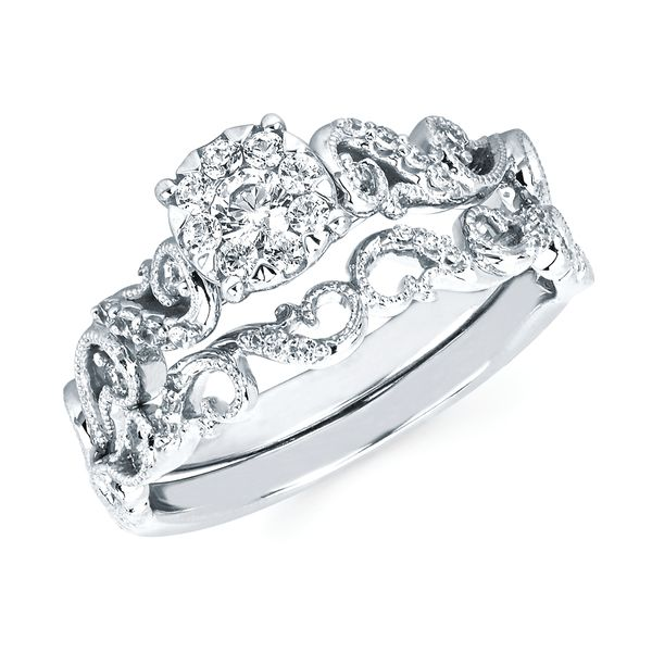 Engagement Rings - 14k White Gold Engagement Set