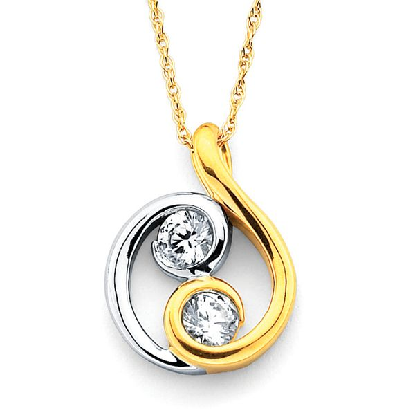 14k White And Yellow Gold Pendant - Two Stone Pend in 14K Two Tone Gold with Prong Set Diamonds equaling 1/5 Ctw.