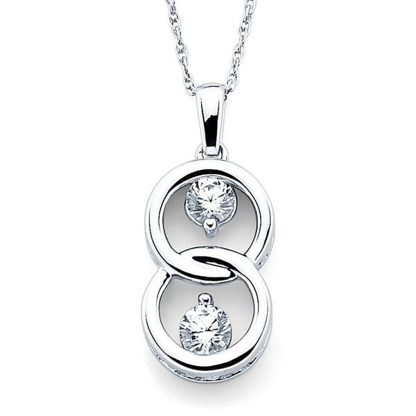 14k White Gold Pendant - Two Stone Pendant in 14K Gold with Prong Set Diamonds equaling 1/10 Ctw.