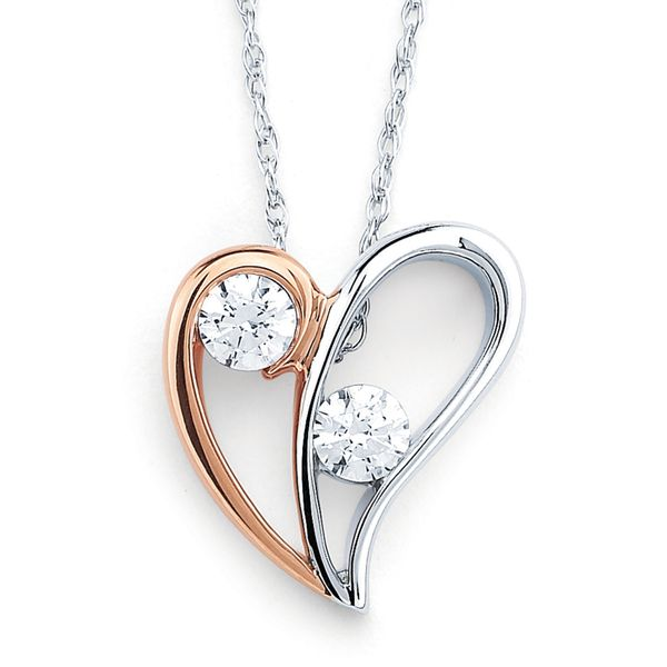 14k White And Rose Gold Pendant by 2Us Diamond Jewelry