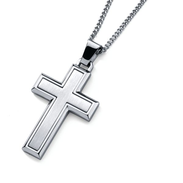 Sterling Silver Men's Necklace - Men's Stainless Steel Cross Pendant with 24 Inch Curb Chain and Spring Ring Clasp