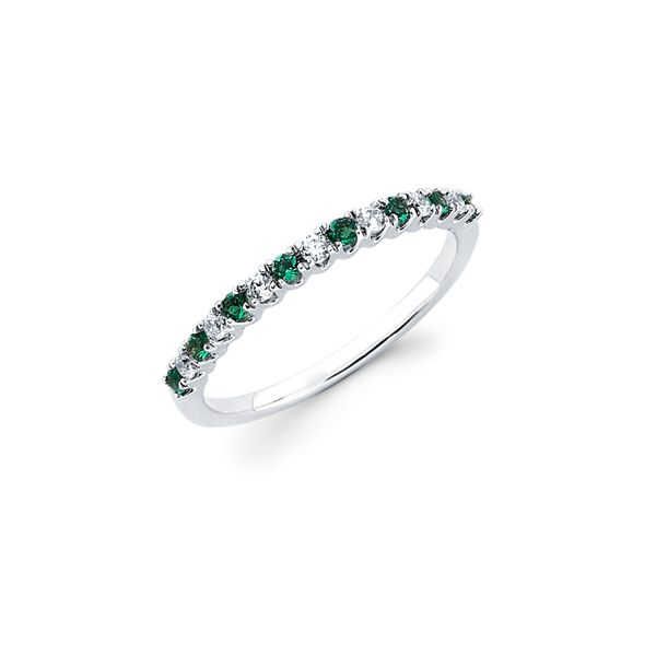 14K White Gold Ring - 1/3 Tgw. Prong Set Created Emerald & Diamond Ring in 14K Gold (Includes 1/8 Ctw. Diamonds)