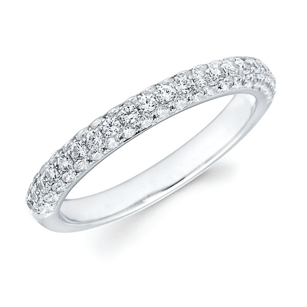 14K White Gold Ring - 1/2 Ctw. Channel Set Diamond Anniversary Band in 14K Gold