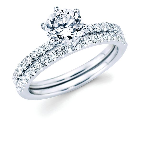 14k White Gold Engagement Set - Classic Bridal: 1/3 Ctw. Diamond Semi Mount shown with 1 Ct. Round Center Diamond in 14K Gold 1/3 Ctw. Diamond Wedding Band in 14K Gold Items also available to purchase separately