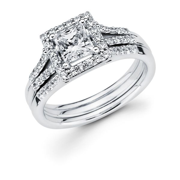 14k White Gold Engagement Set - Halo Bridal: 1/3 Ctw. Diamond Halo Semi Mount available for 3/4 Ct. Princess Cut Center Diamond in 14K Gold 1/10 Ctw. Diamond Wedding Band in 14K Gold Items also available to purchase separately